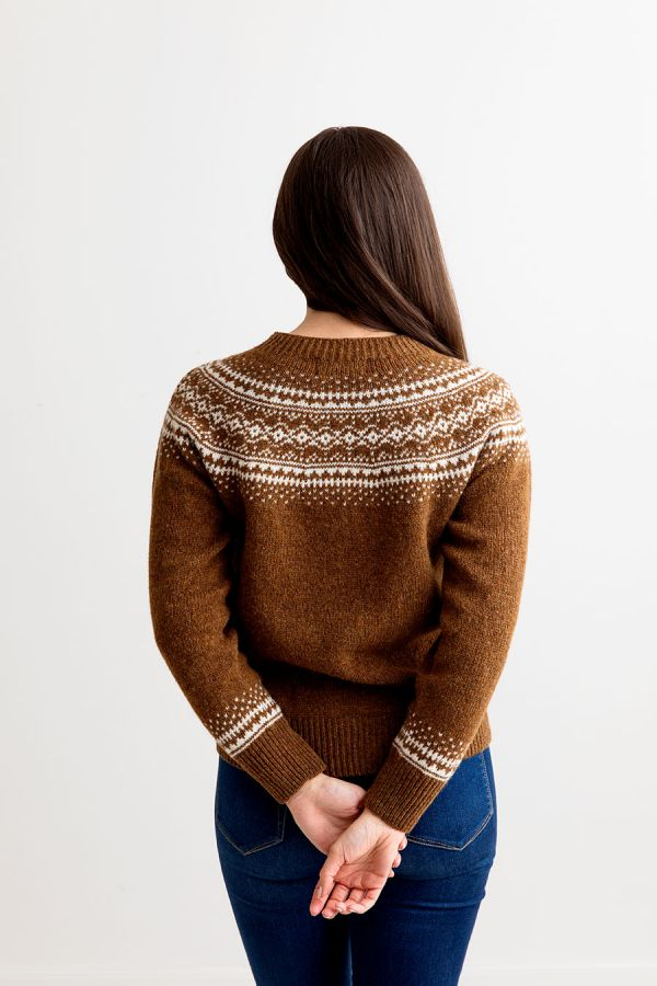 aviemore yoke brown fair isle jumper sweater womens