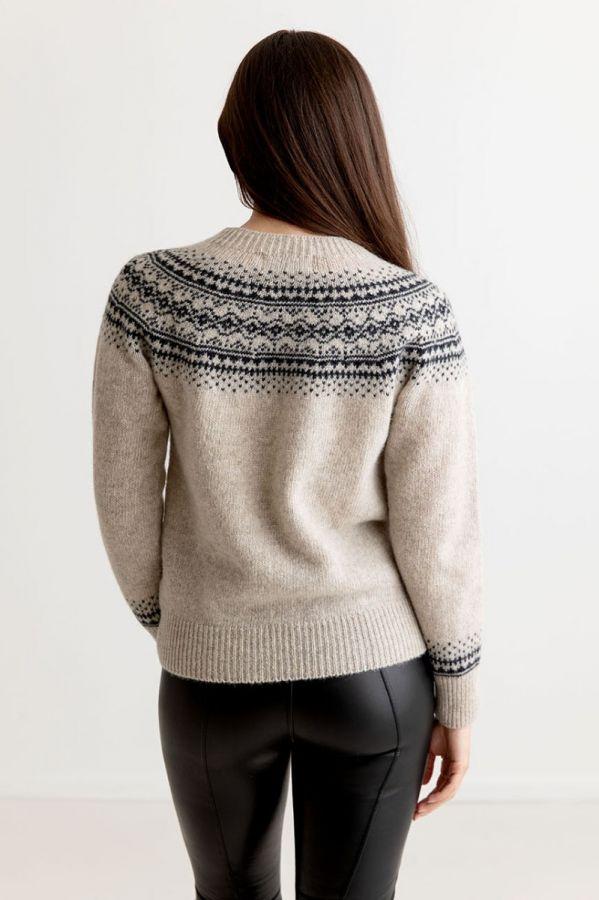beige wool fair isle jumper sweater aviemore yoke putty charcoal