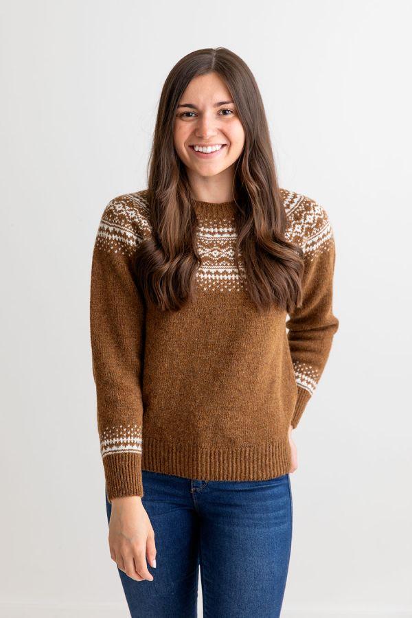 brown scottish wool fair isle jumper sweater aviemore yoke
