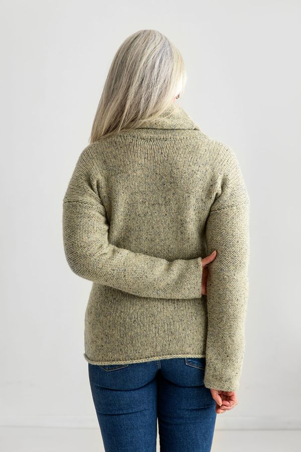 womens chunky wool cowl neck jumper sweater light green