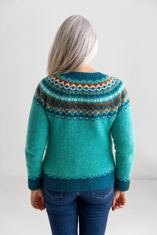 womens fair isle wool cardigan aqua crathie sweater