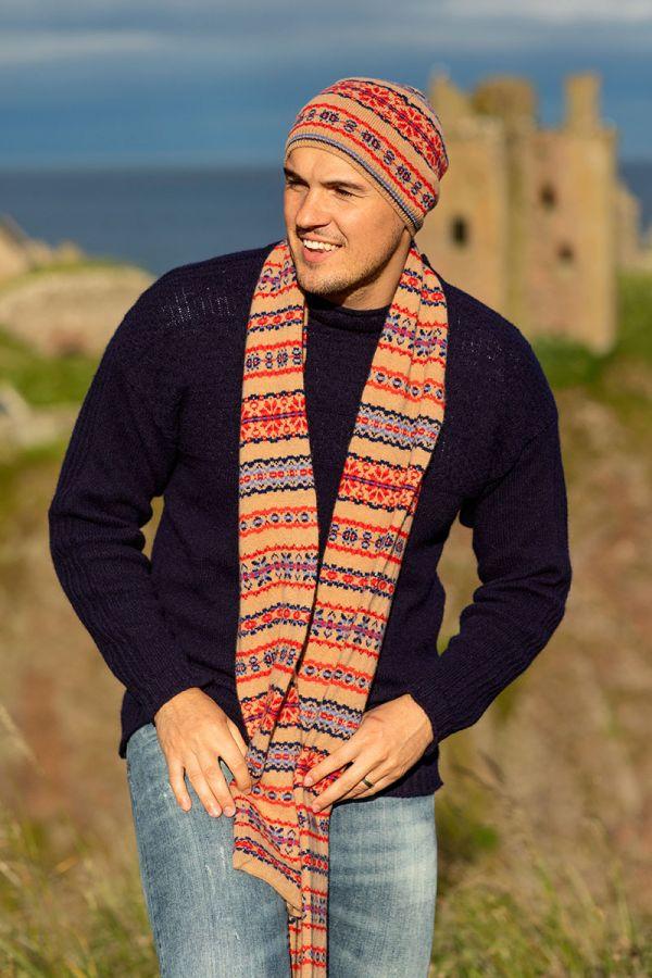 Fair isle mens scarf camel red blue wool Scalloway