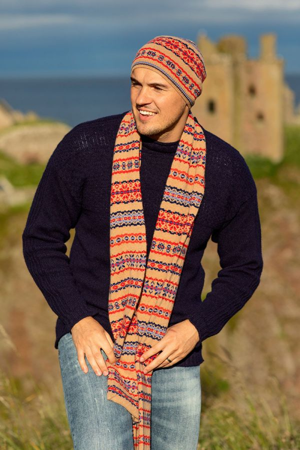 Fair isle beanie hat camel blue red Scottish lambs wool Scalloway