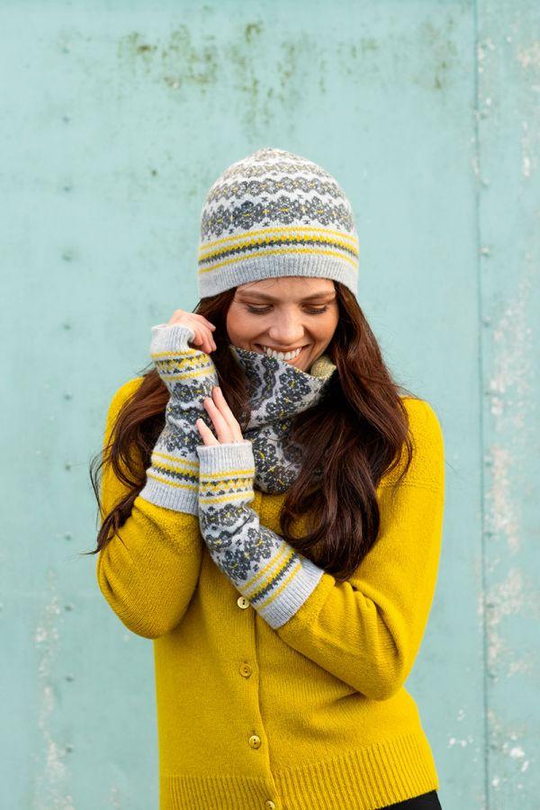 Fair isle beanie hat grey yellow Scottish lambs wool Stockbridge