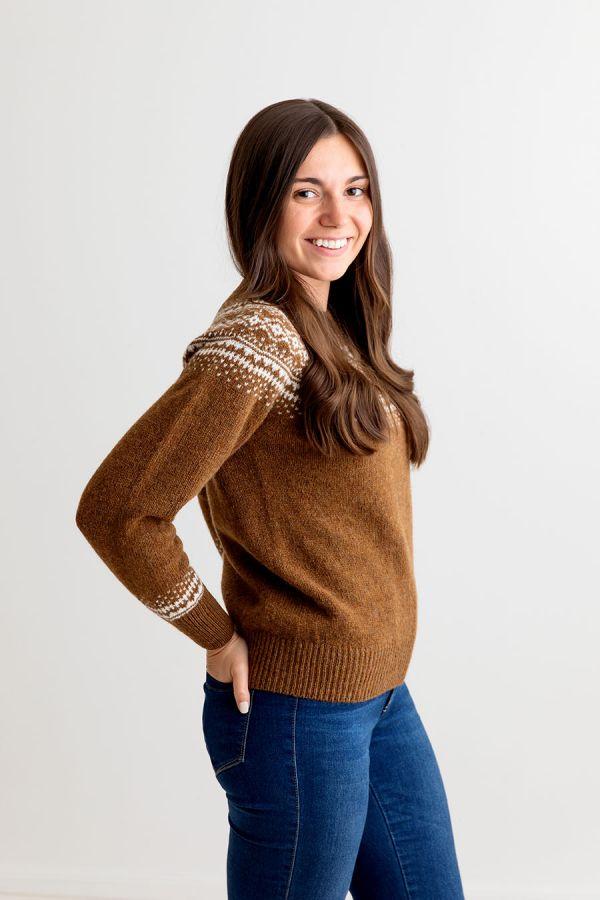 fairisle brown jumper sweater womens yoke aviemore ski