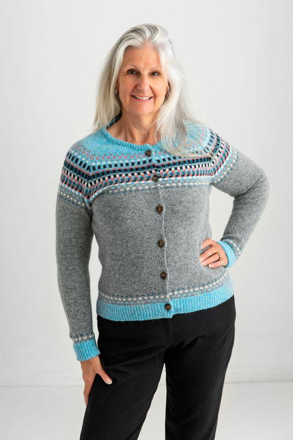 womens fair isle cardigan grey gray wool building blocks