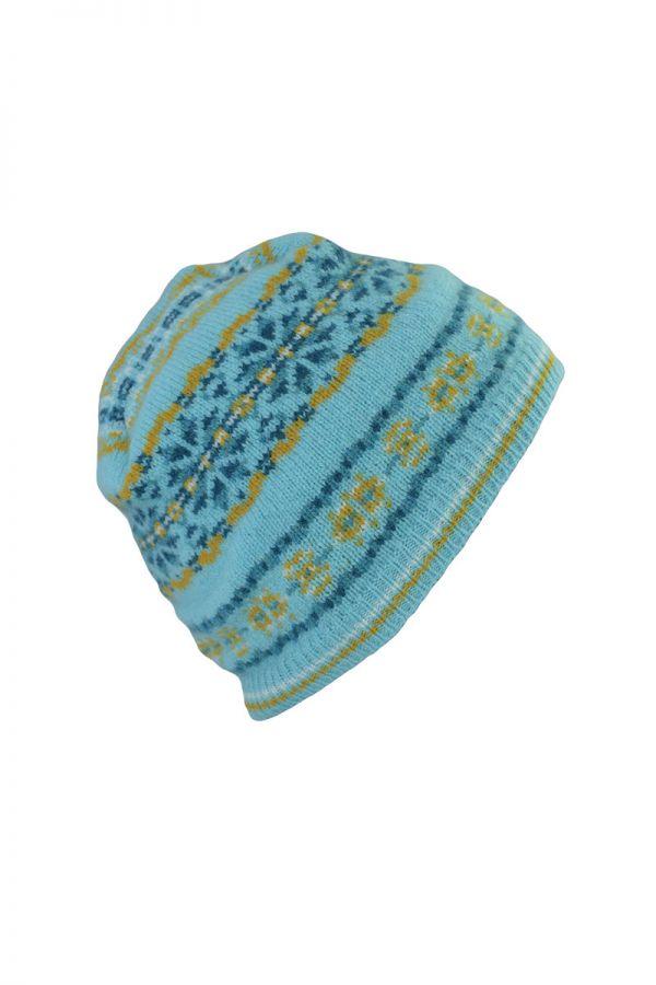 Fair isle beanie hat aqua yellow lambs wool Scalloway