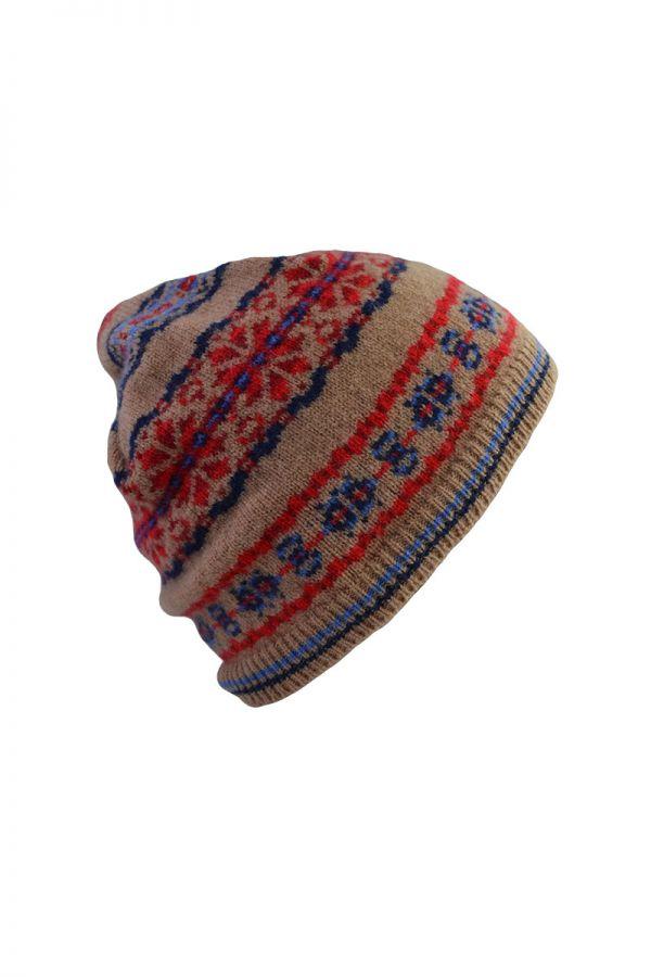 Fair isle beanie hat camel blue red lambs wool Scalloway