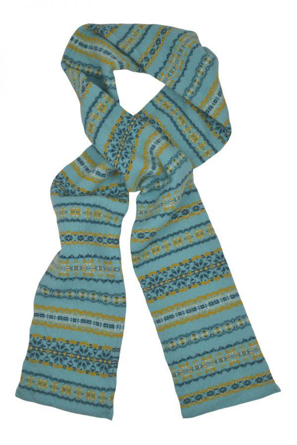 Fair isle aqua yellow scarf Scottish lambs wool Scalloway