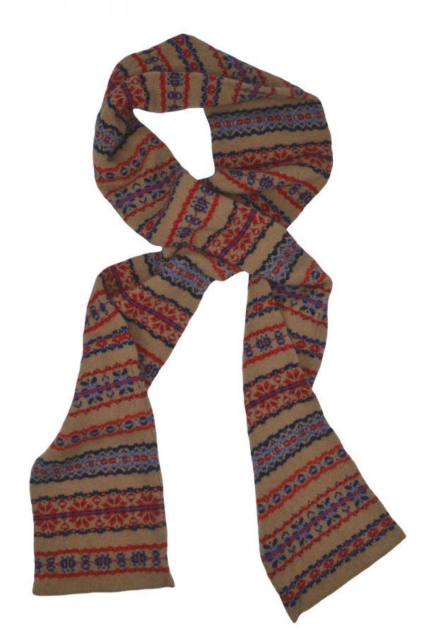 Fair isle red blue camel scarf Scottish lambs wool Scalloway