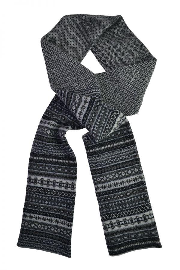 fair isle scarf grey black charcoal lambs wool tweed