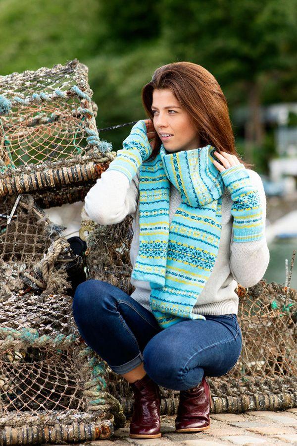 Aqua fair isle scarf scottish lambs wool Scalloway yellow