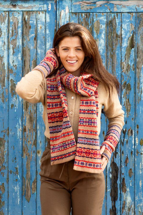 Fair isle scarf camel red blue Scottish lambs wool Scalloway
