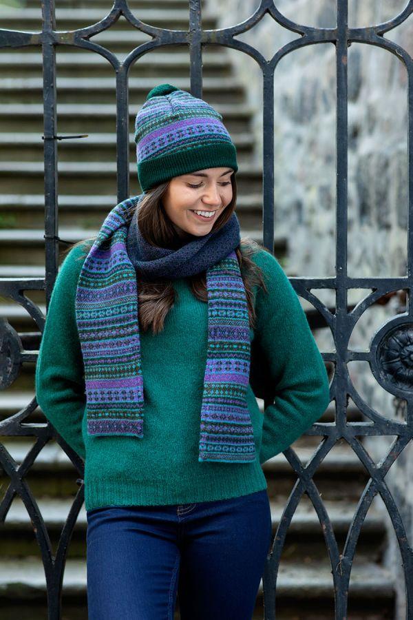 fair isle hat green purple wool tweed