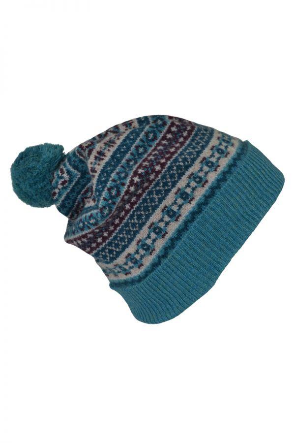 Fair isle ski hat. Teal. Scottish lambswool