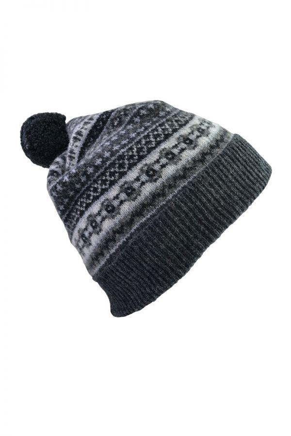 Fair isle ski hat grey black charcoal lambs wool tweed