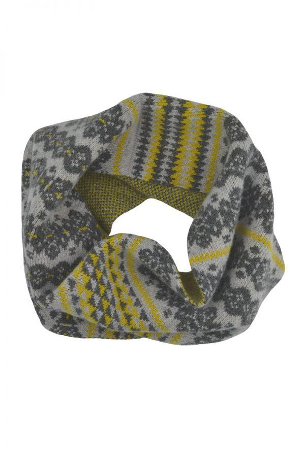 Fair isle cowl scarf grey yellow gray Scottish lambs wool Stockbridge