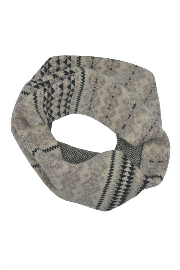Fair isle cowl scarf linen black Scottish lambs wool Stockbridge