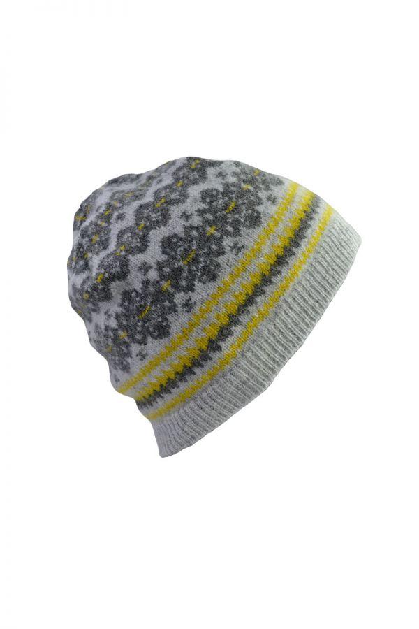 Fair isle beanie hat grey yellow lambs wool stockbridge