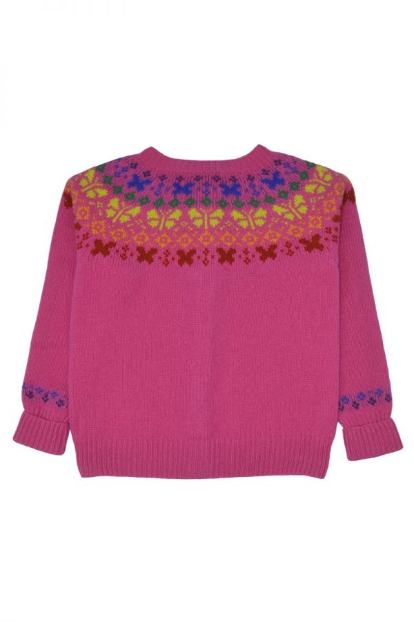 Girls fair isle cardigan. Butterfly rainbow. Pink back