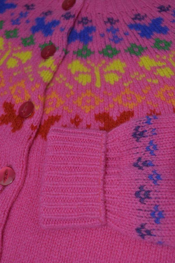 Girls fair isle cardigan. Butterfly rainbow. Pink close up