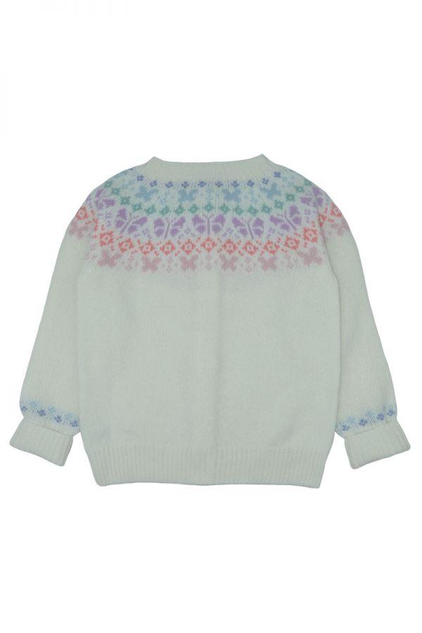 Girls fair isle cardigan. Butterfly rainbow. White back