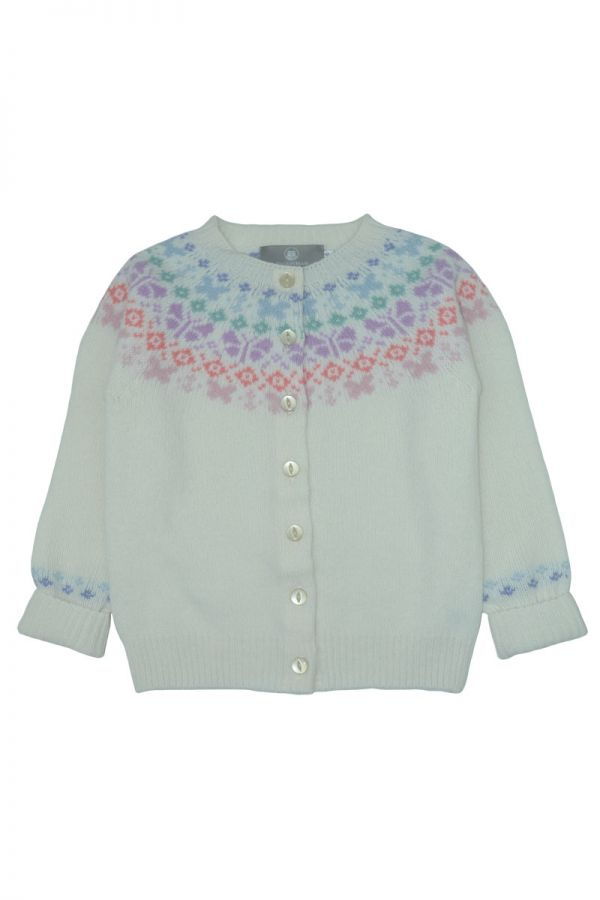 Girls fair isle cardigan. Butterfly rainbow. White front