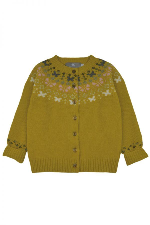 Girls fair isle cardigan. Butterfly rainbow. Yellow front