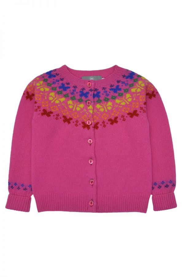 Girls fair isle cardigan. Butterfly rainbow. Pink front