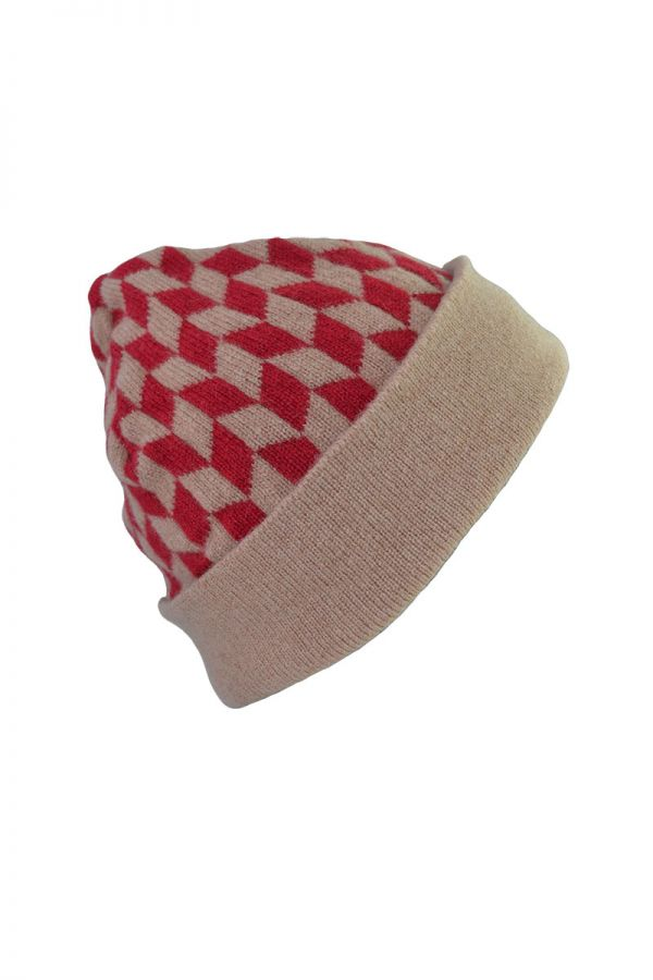 Red camel lambs wool beanie hat Graphic Chevron