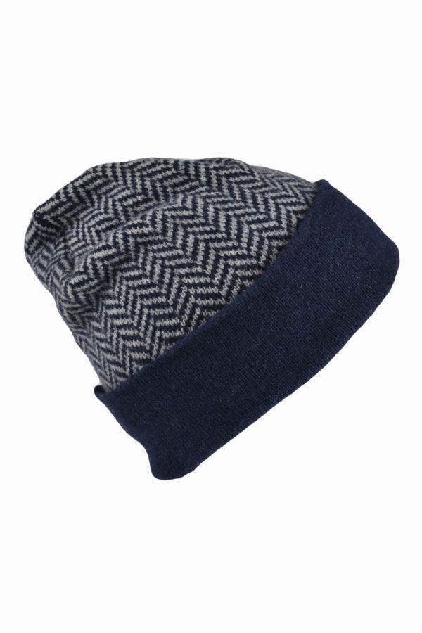 Scottish lambswool herringbone beanie hat - blue
