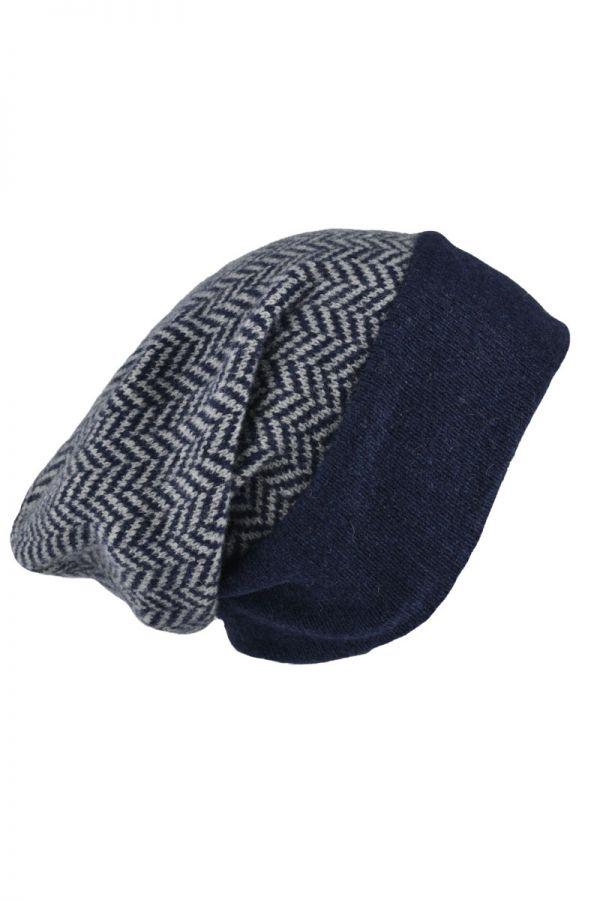 Scottish lambswool herringbone beanie hat - blue. Slouchy