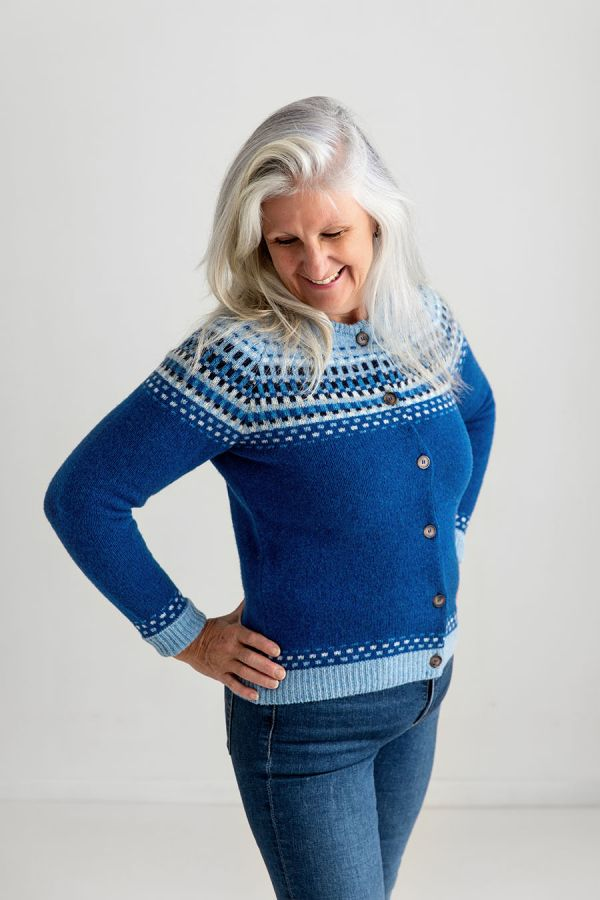 ladies blue fair isle cardigan shetland wool royal