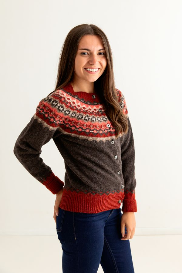 ladies brown fair isle cardigan wool red russet crathie womens fairisle side