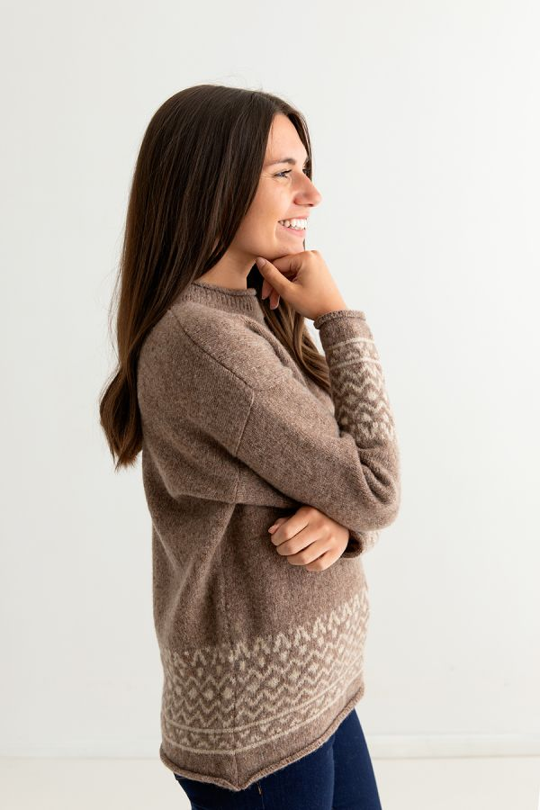 ladies brown fair isle jumper sweater shetland wool braemar side