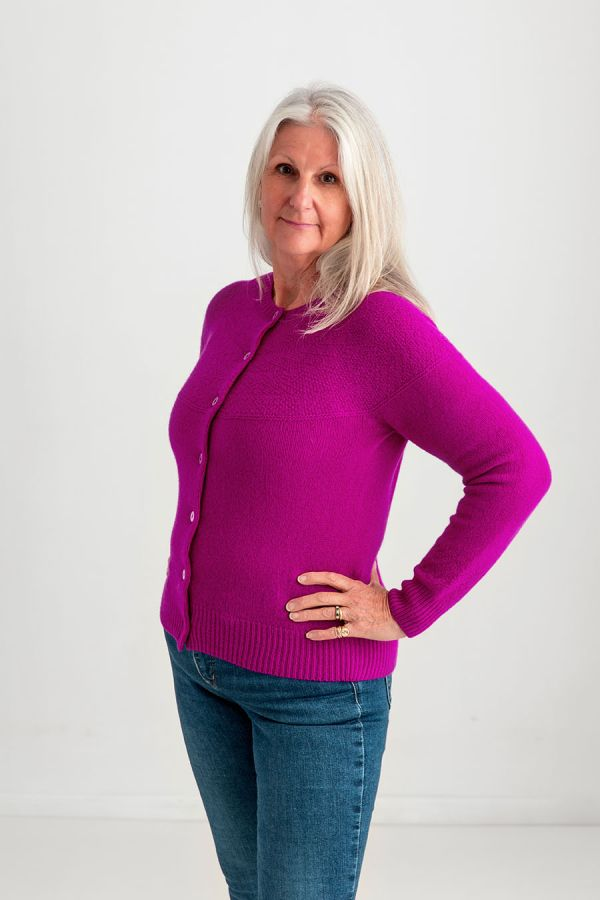 Womens Gansey Cardigan fuchsia pink wool