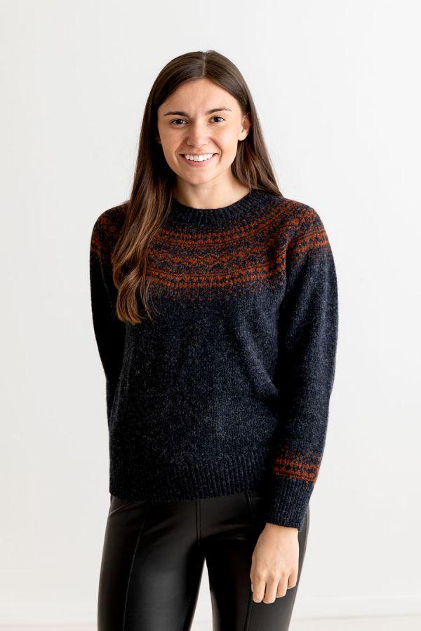 ladies charcoal shetland wool fair isle jumper sweater aviemore yoke