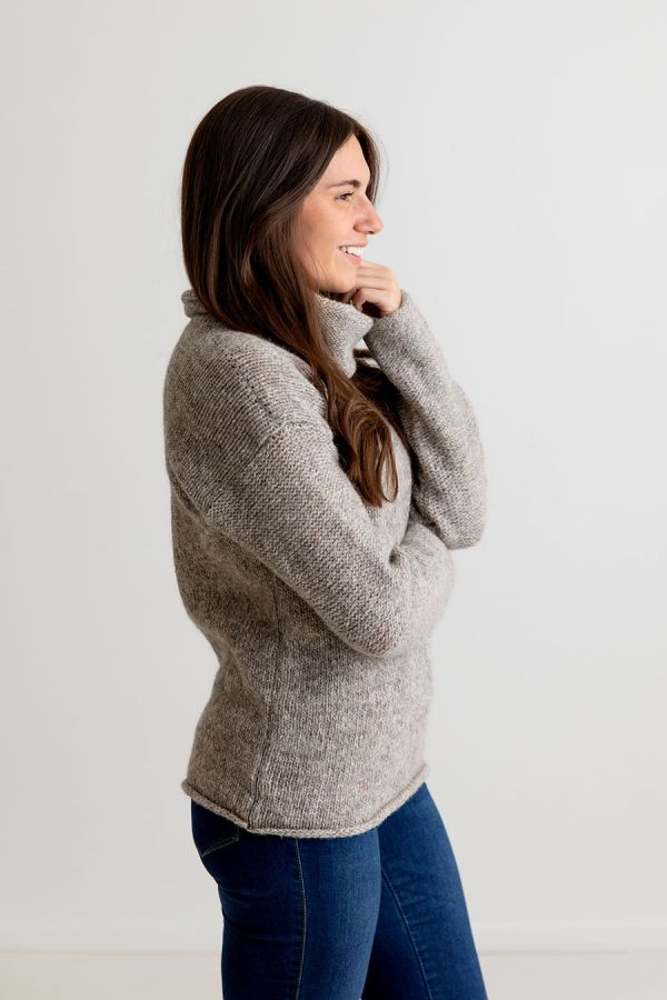 ladies chunky cowl neck jumper sweater natural undyed scottish wool