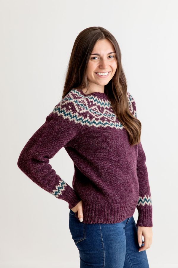 ladies chunky fair isle jumper sweater purple wool aubergine finnieston yoke
