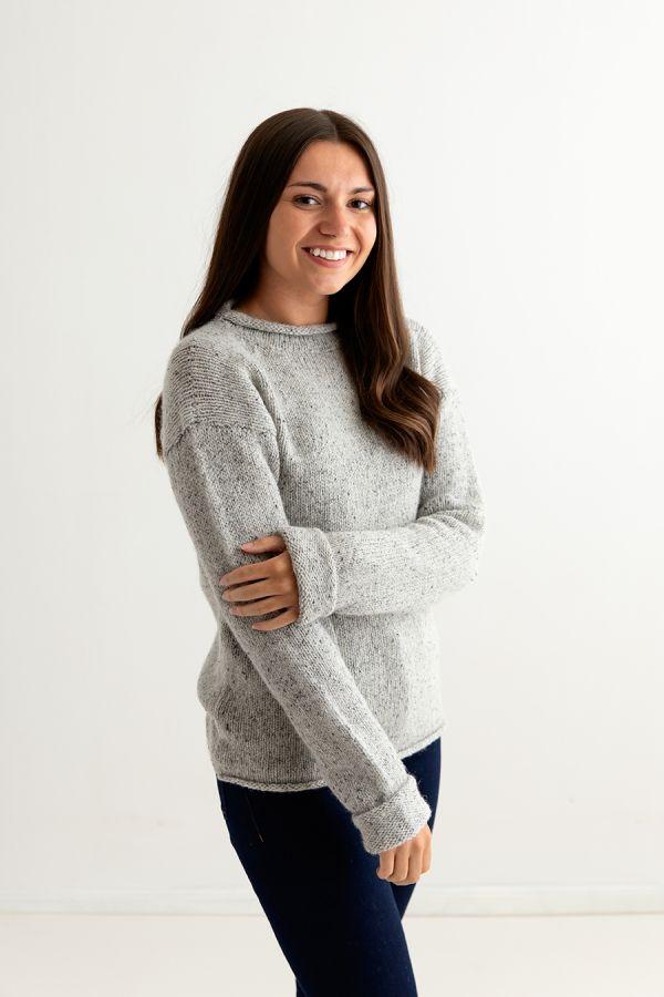 ladies light grey chunky wool sweater jumper cuffed side