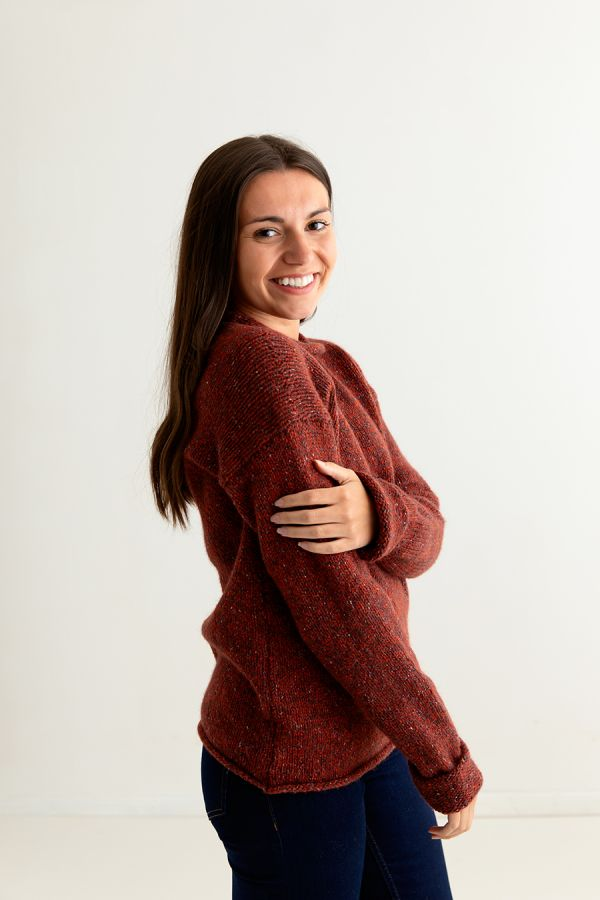 ladies red chunky wool jumper sweater russet cuffed side