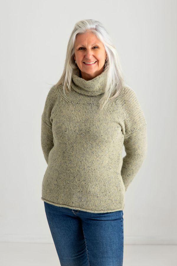 ladies cowl neck chunky wool jumper sweater light green