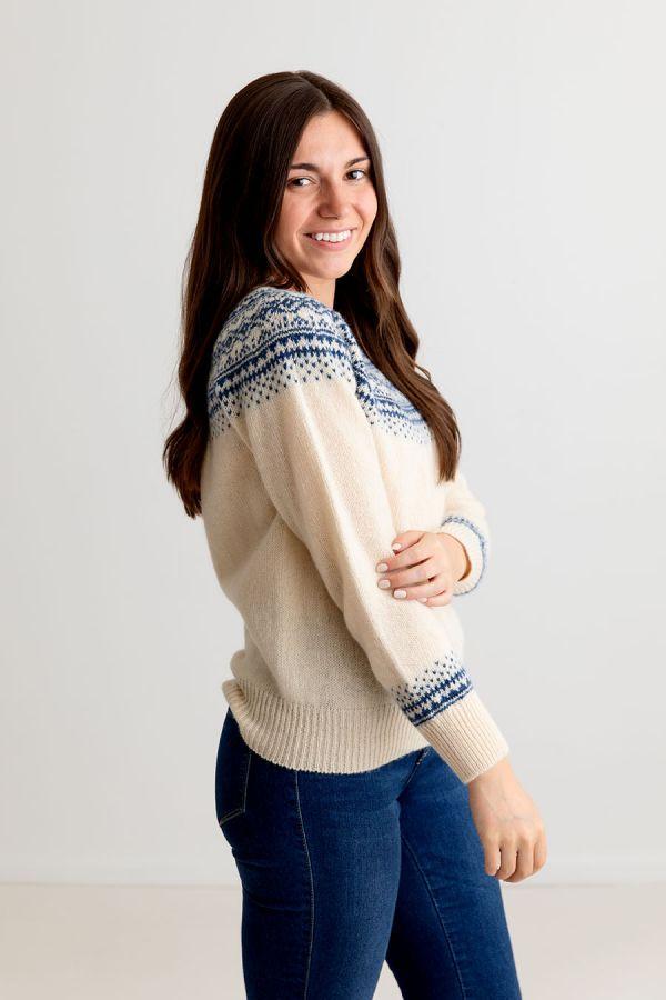 ladies cream wool fair isle jumper sweater aviemore yoke shetland scottish