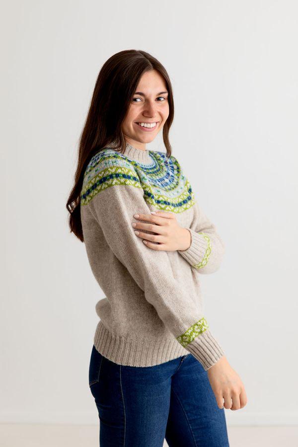 ladies fair isle beige wool jumper sweater festival yoke blue green