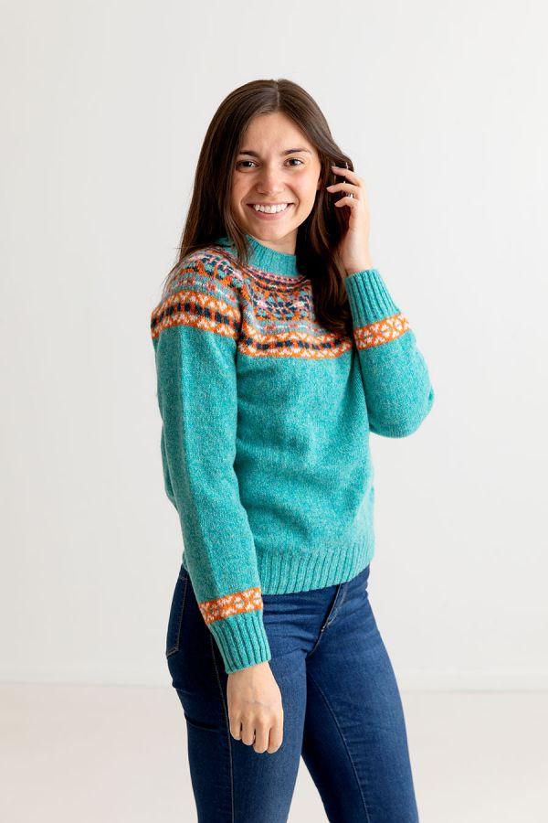ladies fair isle jumper shetland wool aqua orange festival yoke sweater