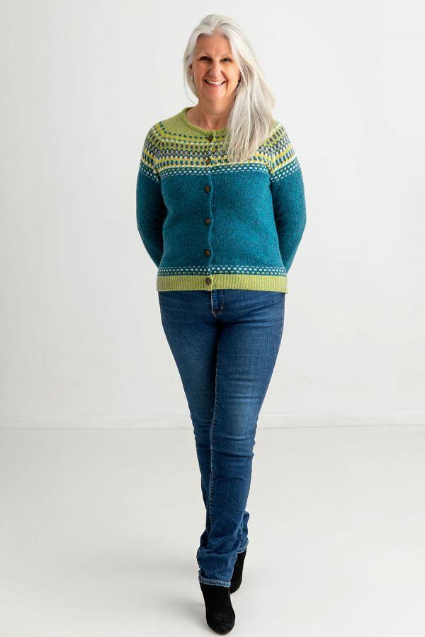 womens fairisle cardigan wool sweater teal green blocks