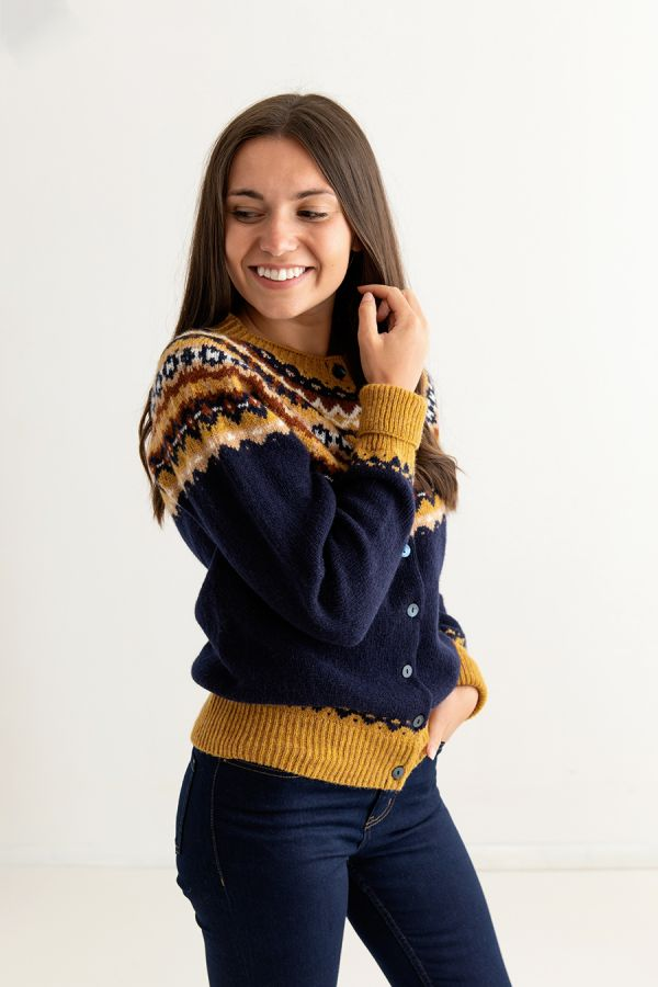 ladies fairisle navy blue cardigan wool crathie fair isle side