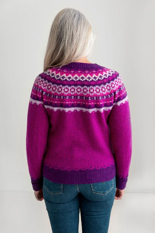 womens fairisle cardigan sweater pink wool fuchsia