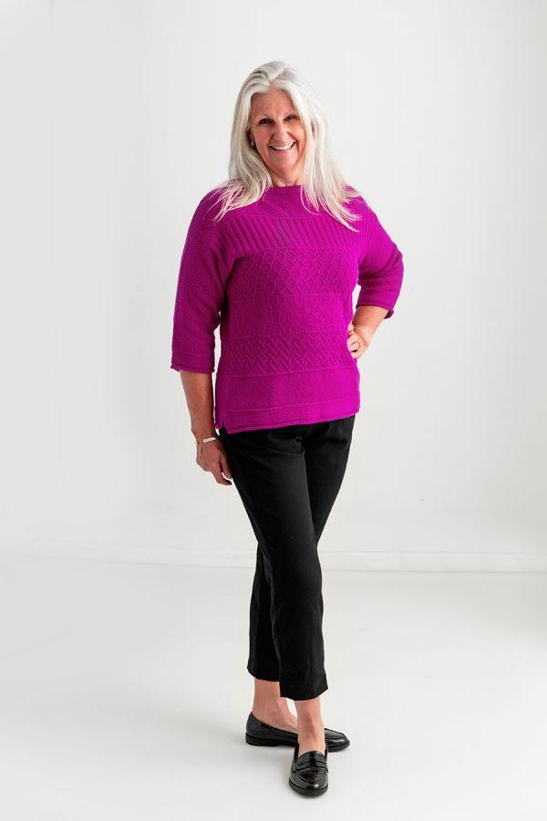 Ladies fuchsia pink gansey jumper sweater boat neck guernsey