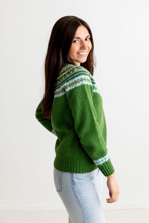ladies green blue shetland wool fair isle jumper sweater festival yoke